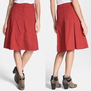 (EILEEN FISHER) Red A Line Linen Blend Skirt